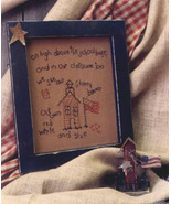 Our Starry Banner OOP Primitive Stitchery and birdhouse patt - $3.50