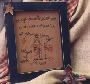 Our Starry Banner OOP Primitive Stitchery and birdhouse patt