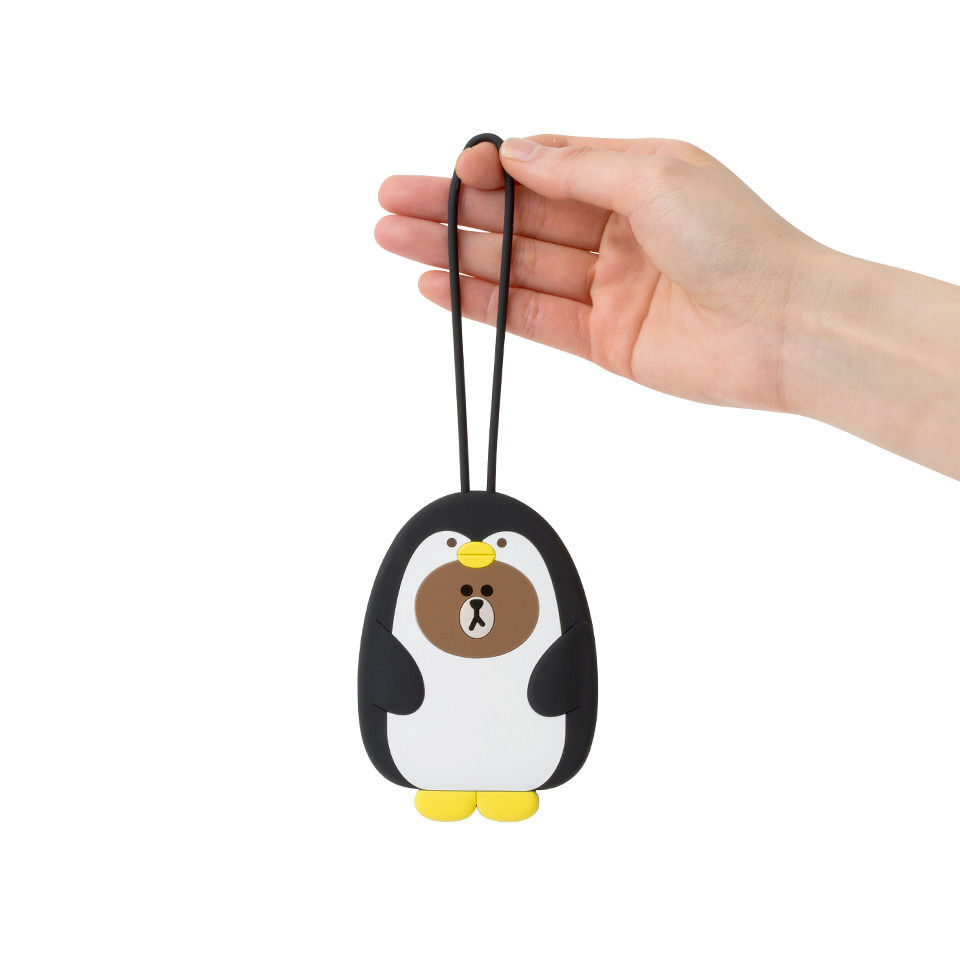 LINE FRIENDS Character Silicon Luggage Name Tag PENGO BROWN Official Goods