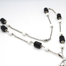 SILVER 925 NECKLACE, ONYX BLACK TUBE, LOCKET STARS AND CIRCLES PENDANT image 4