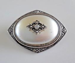 Vintage Signed Avon Victorian Revival Faux Pearl Rhinestone Brooch Pendant - $5.70