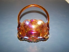 Very Nice Vintage Carnival Glass Handled Basket Diamond Pattern Unknown ... - $9.89