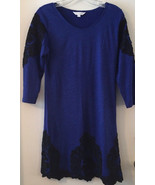 Charming Charlie Long Sleeved Dress Royal Blue Black Lace Size Small Acr... - $23.19
