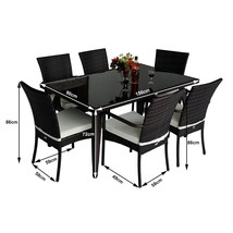 Rattan Garden Dining Set 7pcs Luxury Patio Furniture Rectangular Table 6 Chairs image 2