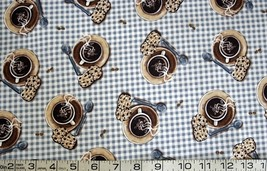 By the half yard- food/coffee & cookies/blue checks quilt fabric