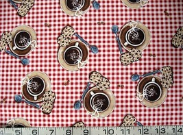 By the Half yard food/coffee and cookies/red checks cotton quilt/sewing fabric