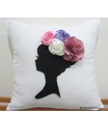 Dreaming Of Spring Black Cameo White Pillow Cover. Bridal - $32.50