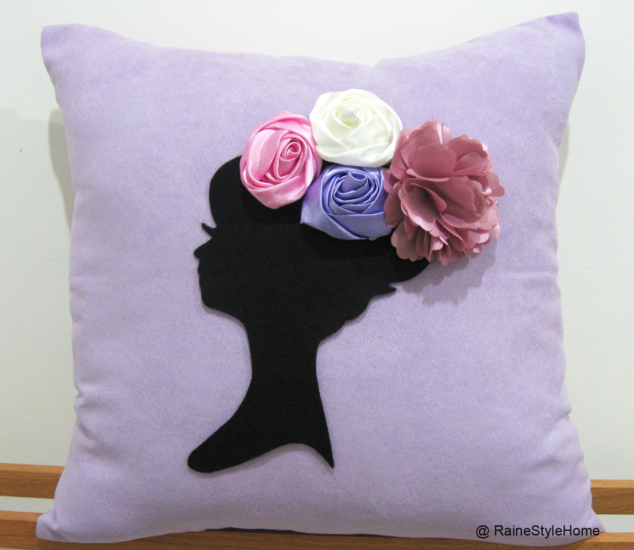 Dreaming Of Spring Black Cameo White Pillow Cover. Bridal