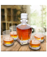 Personalized Antique 24 Ounce Whiskey Decanter with set of 4 Lowball Gla... - $89.95