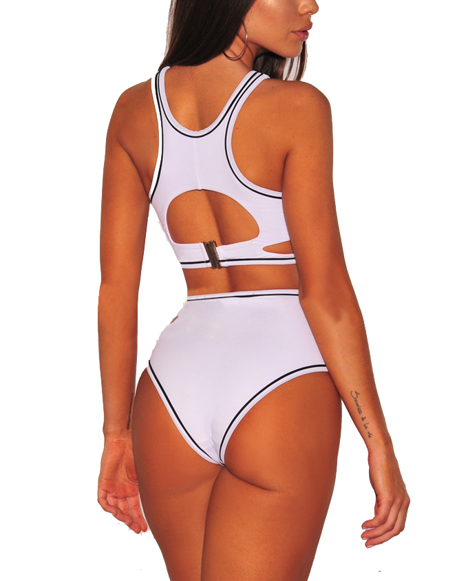 Women's Sexy Hollow Out High Waist Two Pieces Bikini Set