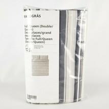 Ikea Randgras Full/Queen Duvet Cover and Pillowcases Gray Stripe New - $41.42