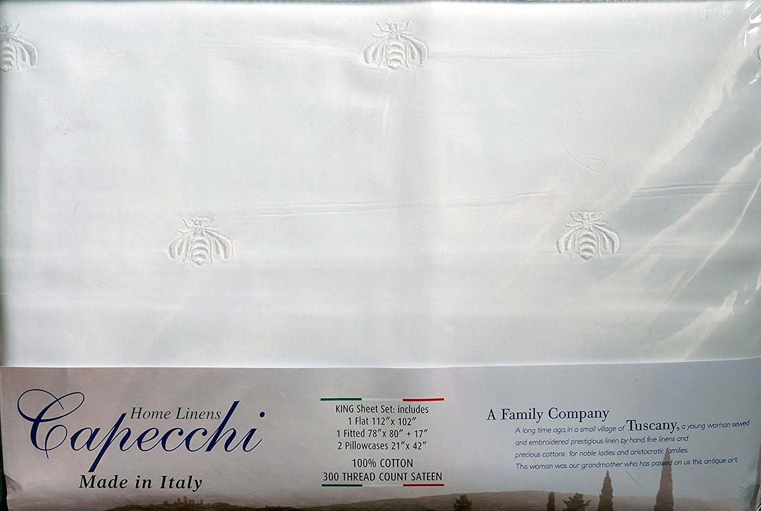 CAPECCHI-SHEET-SET-QUEEN-100%-COTTON-300-TC-WHITE-MADE-IN-ITALY-EMBROIDERED NEW.