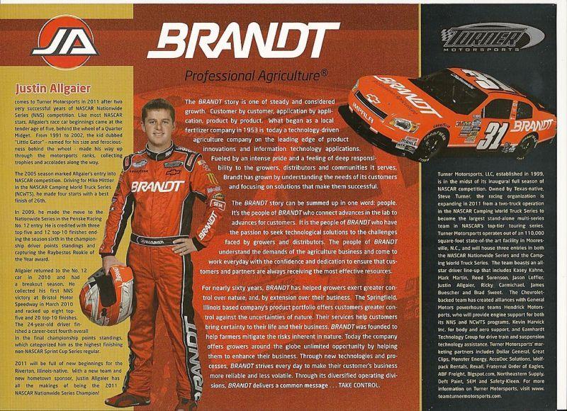 2011 JUSTIN ALLGAIER #31 BRANDT NASCAR POSTCARD SIGNED