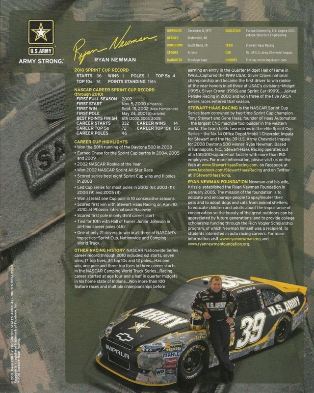 2011 RYAN NEWMAN #39 US ARMY NASCAR POSTCARD SIGNED