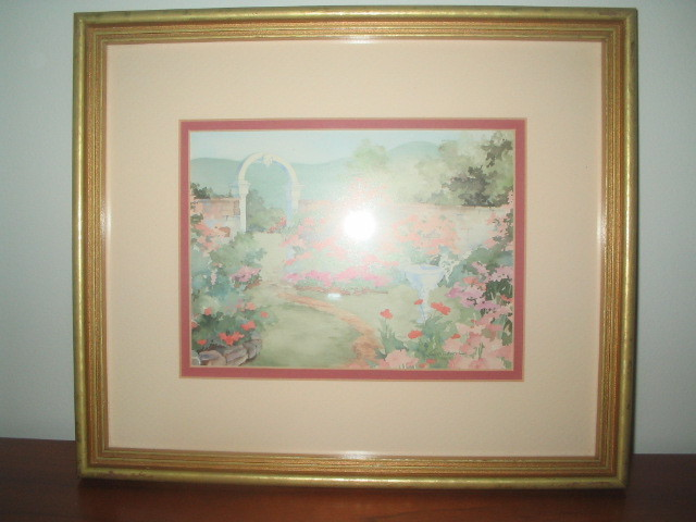 """Vintage Framed Print """"Floral Archway"""" by Laura Erickson 1991"""
