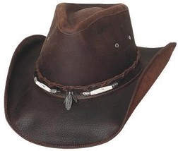 Bullhide Briscoe Leather Cowboy Cowgirl Hat Silver Feather Concho Brown - $87.00