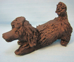 "Poodle Dog Artist Clay Figurines Collectible 1997 Vintage Black 4"" Lying - $17.99"