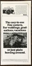 1973 Minolta SR-T 101 Camera PRINT AD Weddings Vacations or Just Horsing... - $10.69