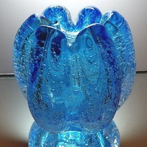 TOZAI HOME VASE Hand Blown Clear Cased Blue Pulegoso Bubble Glass Exquis... - $29.69