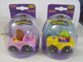 Fisher-Price Little People Easter edition Wheelies set of Maggie & Jed c... - $14.00