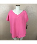 ABACA Peony Pink Pullover Blouse Short Sleeve 100% Cotton T502 Venice 2 ... - $49.49