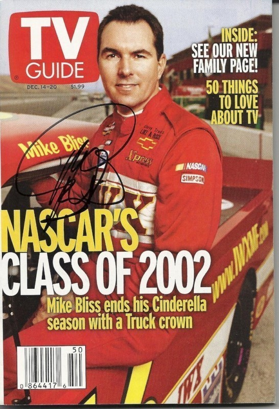 DECEMBER 2002 NASCAR EDITION OF TV GUIDE MAGAZINE MIKE BLISS COVER SIGNED