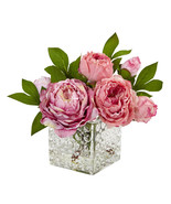 Peony In Glass Vase, Nearly Natural 4577 - $62.49
