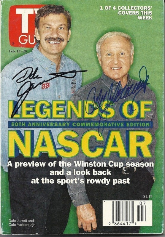 FEBRUARY 1998 TV GUIDE MAGAZINE DALE JARRETT & CALE YARBOROUGH COVER SIGNED