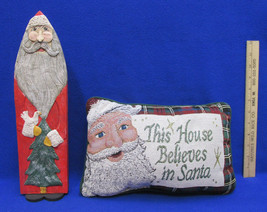 "Christmas Pillow "" This House Believes In Santa "" St Nick Wood Figurine Decor - $12.86"