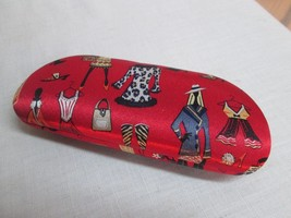M339 NICOLE MILLER Eyeglass Case Clam shell Fashion Fashionista Red Fabric - $23.76