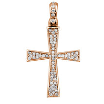 Diamond Cross Pendant, 0.75CT in 18K Pink, Rose gold - $2,170.00