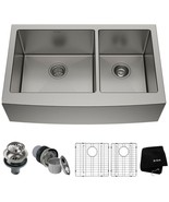 KRAUS Kitchen Sink 36 in. Double Bowl Farmhouse Apron-Front Stainless Steel - $451.45