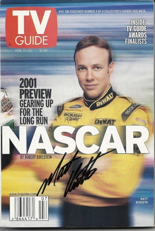 FEBRUARY 2001 NASCAR EDITION OF TV GUIDE MAGAZINE MATT KENSETH COVER SIGNED