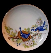 Vtg Blue Birds on Nest PLATE 8 1/8 in. Alsco porcelain decorated in Hong... - $15.88