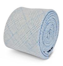 Frederick Thomas 100% linen light blue & white check slim mens tie FT3112