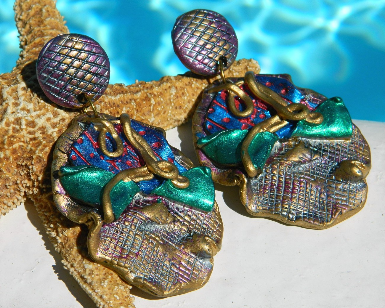 Vintage Artisan Handmade Earrings Huge Dangle Clips Purple