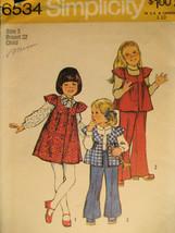 Simplicity 6534 Vintage Girls 3  Pattern 70s Smock Bell Bott - $7.95