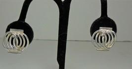Silver Tone Art Deco Screw Back Earrings - $10.88