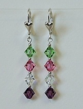 Custom Mother Earrings Sterling Silver Swarovski Crystals - $25.99