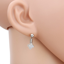 UE- Petite Silver Tone Designer Clover Earrings With Faux Mother of Pearl Inlay - $14.99