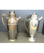 Two 1930s Cocktail Shakers - Sheffield Silver-plate & Chrome Farberware - $47.49