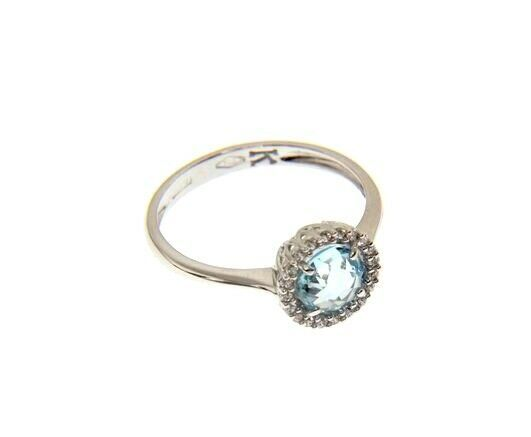18K WHITE GOLD RING CUSHION ROUND BLUE TOPAZ AND CUBIC ZIRCONIA FRAME