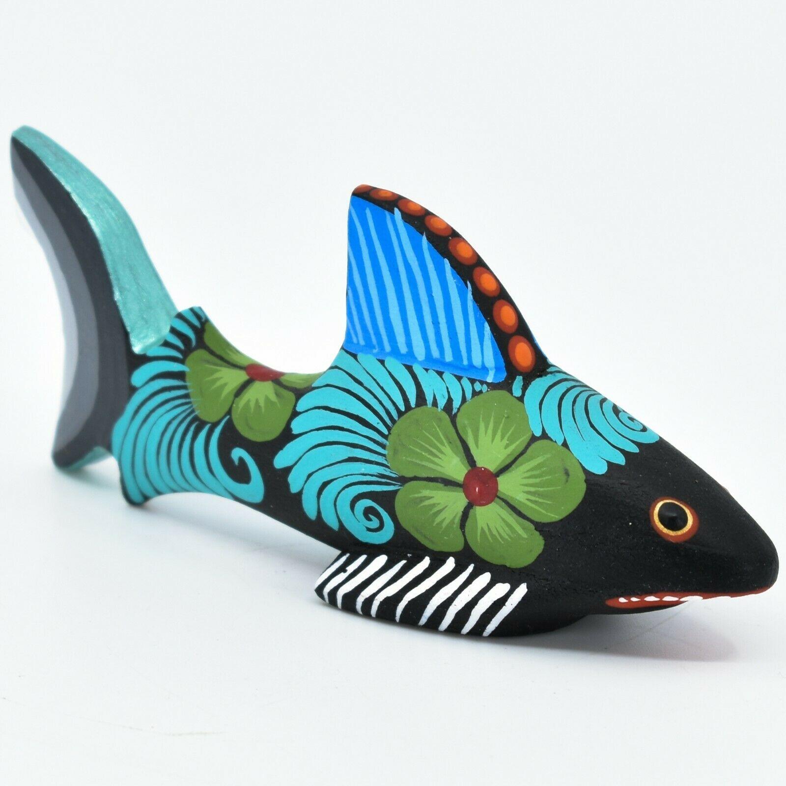 Handmade Alebrijes Oaxacan Copal Wood Carving Painted Folk Art Shark Figurine