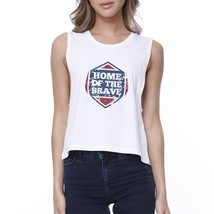 Home Of The Brave White Cotton Unique Graphic Crop Tee For Women - $14.99