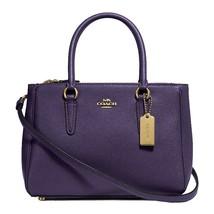 NWT COACH Luxury Mini Surrey Carryall Crossbody Bag Logo Dark Purple Gol... - $114.84