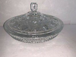 Vintage Indiana Glass Clear Covered Compote Windsor Button Cane Pattern ... - $15.00