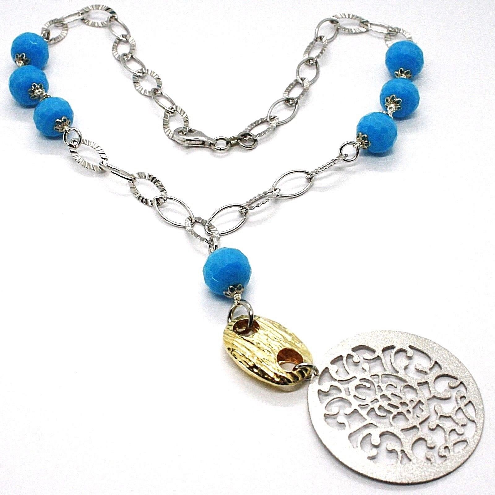 925 Silver Necklace, MEDALLION SATIN, TURQUOISE FACETED, Pendant