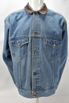 Vintage Marlboro Country Store Flannel Lined Denim Jean Jacket Leather C... - $49.45
