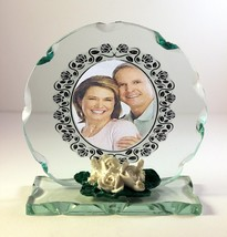 Round Cut Glass Photo Frame Plaque  Personalised with Own Photo Unique G... - $32.07