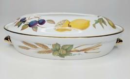 """Royal Worcester 10"""" Oval Entree Dish Lid Porcelain Evesham Gold Asparagus Lemon - $49.50"""